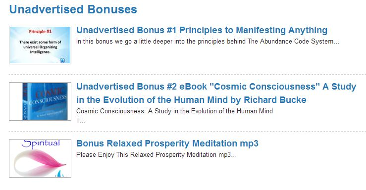 The Abundance Code Unadvertised Bonuses